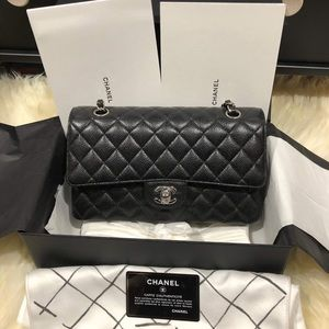 Authentic Chanel Classic Flap M/L Black Caviar SHW